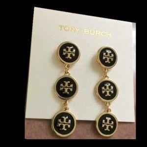 NEW Tory Burch Black & Gold Logo Dangle Earrings